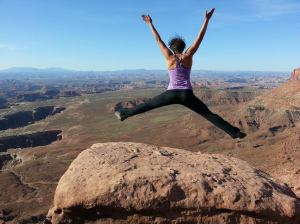 jumping for joy to be in canyonlands