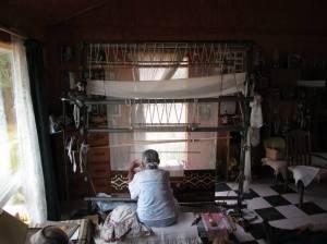 Master Navajo rug weaver in New Mexico.